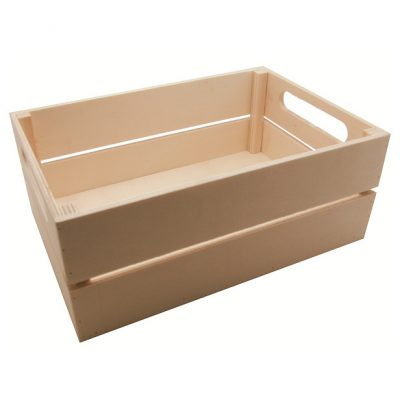 caja multiusos de madera natural