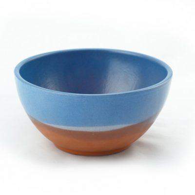 bol de barro decorado azul