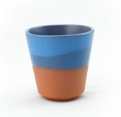 vaso de barro decorado azul