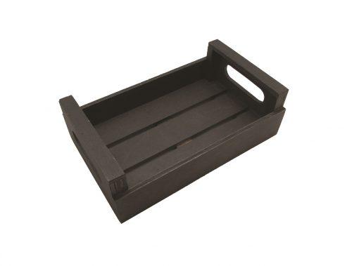Caja de madera color wengue