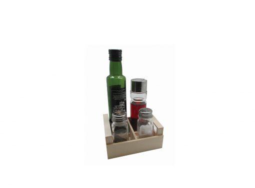 cajita vinagrera + salero y especiero