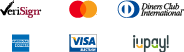 Verisign, Mastercard, Dinners Club, American Express, Visa, iupay